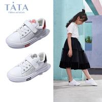 【到手价:167.6元】tata女童小白鞋2020春季新款镂空休闲运动鞋校园中大童男孩板鞋潮