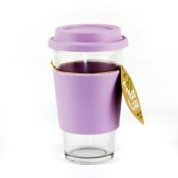 GLASS LOCK 三光云彩 韩国格拉斯乐扣钢化玻璃随手杯水杯 加隔热圈透气孔杯盖RC106