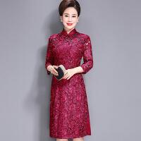 春装高档婚礼妈妈装蕾丝连衣裙中年长袖春秋时尚旗袍喜庆婆婆礼服 红色