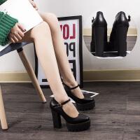 12cm春秋韩版厚底粗跟单鞋防水台尖头超高跟一字扣女鞋工作鞋走秀
