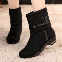 秋冬布鞋女鞋加绒短靴中筒靴两穿长筒靴大码女靴子42女棉靴 160黑色