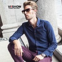 viishow纯色男士长袖衬衫潮 棉质极简韩版修身复古方领长袖衬衣春
