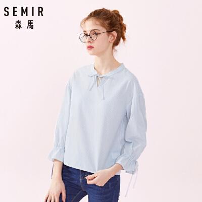 森马九分袖衬衫女春季新款纯棉V领竖条纹显瘦喇叭袖寸衫潮