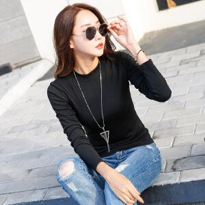 2017秋装新款女装长袖女t恤女打底衫纯色韩版修身小高领打底小衫