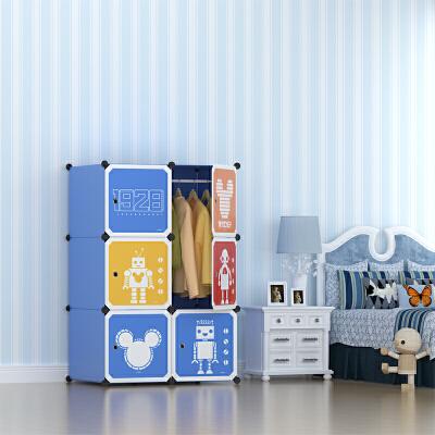 Disney迪士尼米奇6门4格1挂标准款 收纳柜储物柜整理柜简易衣柜衣橱(赠磁铁)