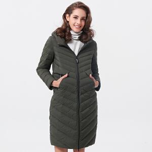 坦博尔2017年冬季新品直筒修身显瘦中长款羽绒服女TB17698