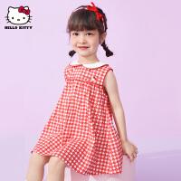 HelloKitty女童背心连衣裙2021夏季新款公主裙宝宝格子儿童装裙子