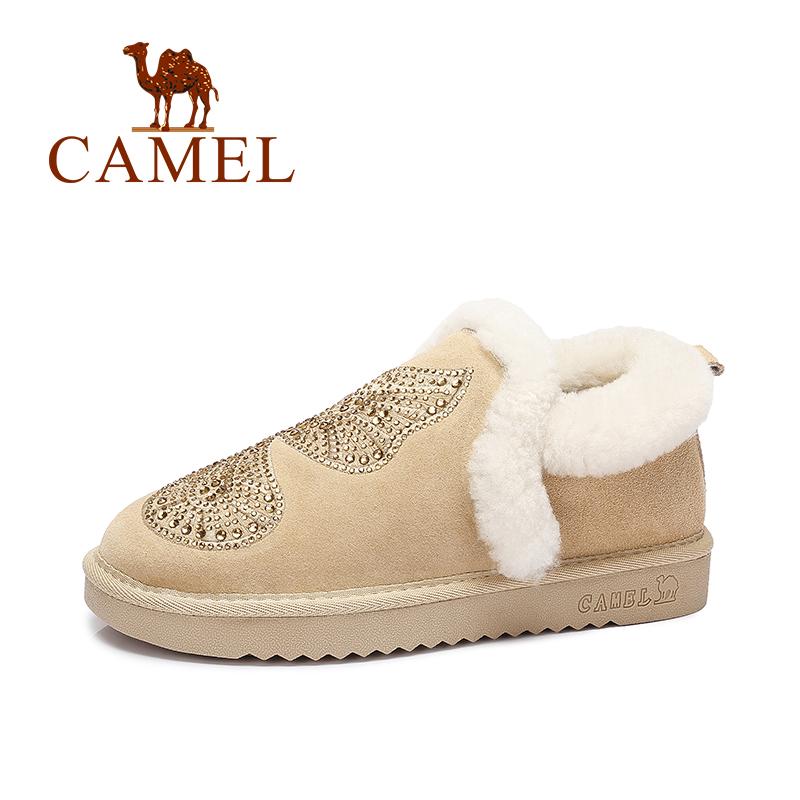 Camel/骆驼短靴 女鞋 保暖休闲舒适女靴套脚雪地靴秋季焕新 全场满59元包邮