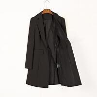 小西装女外套2018春秋季韩版黑色修身职业长袖女式西服中长款上衣 黑色 黑色 X