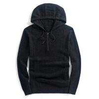 羊毛�l衣男��帽�羊毛衫男士�L袖��毛衣�B帽外套男 黑色 黑色
