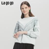 Lagogo2019年秋季新款圆领蕾丝拼接宽松长袖卫衣女短款ICEE337D02