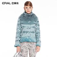 ERAL/艾莱依冬季滩羊毛领收腰丝绒拼接短款羽绒服女修身显瘦2030C