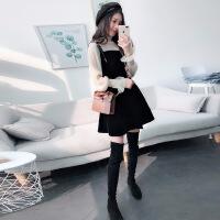 新款2018丝绒黑色吊带连衣裙两件套韩版打底套装裙春秋季女装 套装