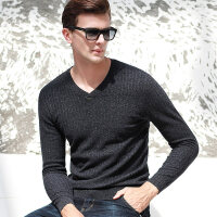 新款秋冬季羊毛针织衫男纯色V领休闲长袖套头男士毛衣打底衫
