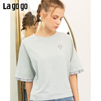 Lagogo/拉谷谷2019新款撞色条纹拼接宽松T恤女ICTT457D07