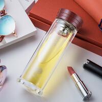 双层水晶玻璃茶杯235ml 高档创意商务带茶漏玻璃杯 XN-6105