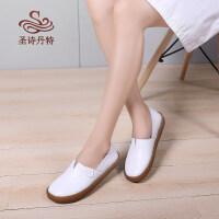 护士鞋女软底小白鞋平底工作鞋孕妇妈妈鞋脚胖宽懒人豆豆单鞋