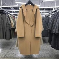 新女大衣现货17冬新款女装韩国围巾领设计双面手缝羊毛羊绒大衣 均码
