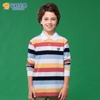 【两件1.3折价:34.7元】英格里奥新款中大儿童纯棉宽松打底衫翻领条纹POLO衫