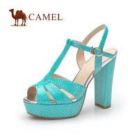 Camel骆驼 时尚鱼嘴防水台粗跟女凉鞋