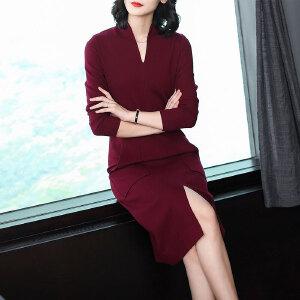 针织连衣裙秋冬季2018新款女秋装中长款过膝打底毛衣裙直筒