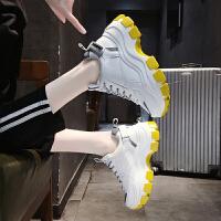 松糕鞋女厚底单鞋2019秋季百搭增高休闲坡跟老爹运动鞋 白色 反光条