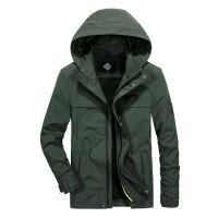 吉普JEEP秋冬新品加绒中长款保暖夹克男外套1509可脱卸帽茄克衫