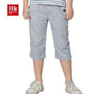 jjlkids季季乐童装男童休闲舒适透气清凉夏季七分布裤中大童薄款