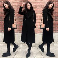 2018冬季新款女装韩版黑色赫本风毛呢外套女中长款呢子流行大衣女z0090085