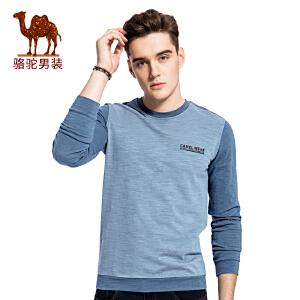 骆驼男装 秋季新款圆领印花微弹男青年休闲青春长袖卫衣