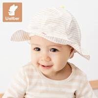 威尔贝鲁 婴儿帽子宝宝遮阳帽 男童女童帽子彩棉春夏宽檐胎帽春秋