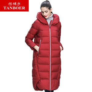 坦博尔长款羽绒服女过膝带帽韩版冬季新款加厚羽绒衣外套女TB3718