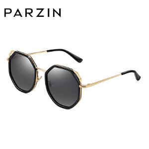 帕森太阳镜女士金属多边圆框板材猫眼尼龙镜片时尚潮墨镜9789