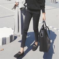 烟灰色牛仔裤女黑色长裤显瘦秋冬季高腰紧身大码弹力小脚裤子