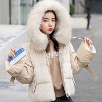 白领公社 棉服 女士连帽大毛领加厚羽绒棉服冬季新款韩版时尚女式宽松显瘦棉袄可爱学生短款外套