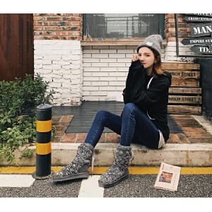 O'SHELL欧希尔新品113-X911韩版毛线女士雪地靴