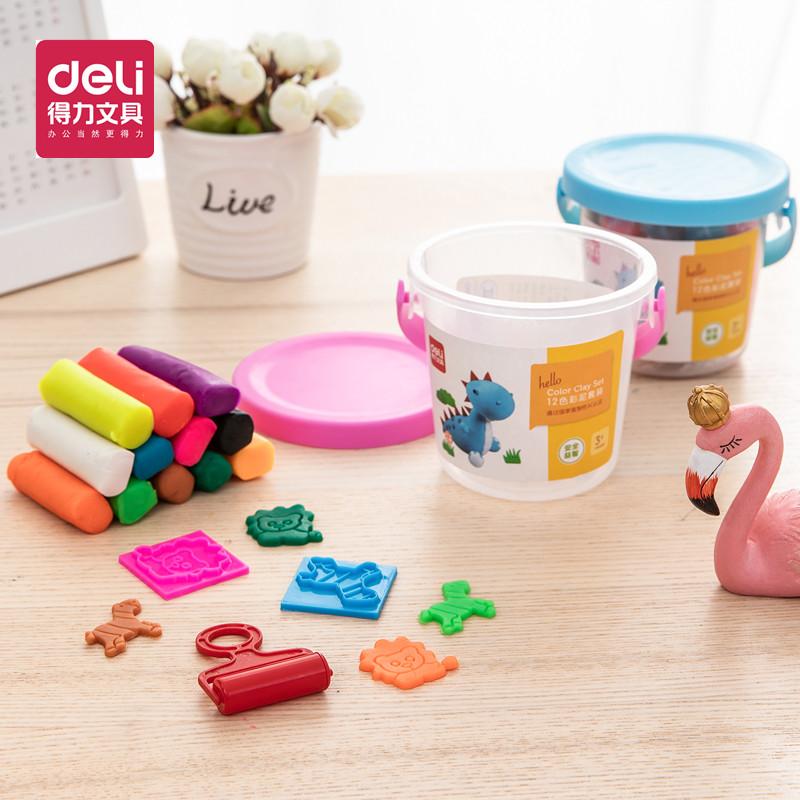 得力彩泥 12色24色儿童创意幼儿园象皮泥手工泥宝宝玩具材料学生手工制作DIY粘土橡皮泥捏土套装内含工具桶装 多色搭配,各种模具丰富不同玩法