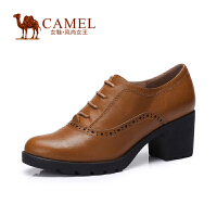 Camel/骆驼女鞋 舒适休闲 打蜡牛皮圆头系带粗高跟深口新款女鞋