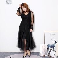 大码女装胖MM连衣裙韩版修身显瘦蕾丝裙拼接200斤仙女网纱长裙子 黑色