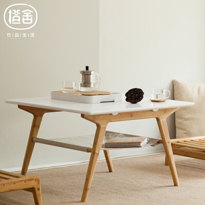 橙舍 叙旧双层茶几 竹纤维面板竹家具双层收纳小桌子矮桌