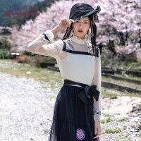 生活在左2019秋季女装新品真丝蚕桑丝印花高领衬衣气质上衣两件套