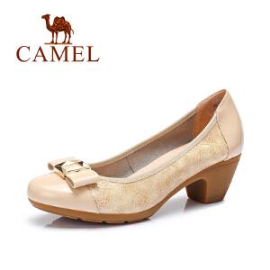 Camel/骆驼女鞋 休闲通勤 牛漆皮压花圆头舒适中跟