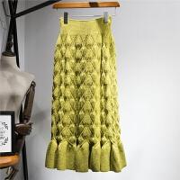 秋冬新款鱼尾裙针织半身裙长裙高腰显瘦毛线包臀裙加厚冬裙女裙子 均码