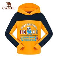 camel骆驼秋冬季男童加厚连帽卫衣儿童运动套头微弹T恤衫