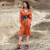 生活在左2019秋季女装新品v领宽松中长款衬衫连衣裙女设计感小众
