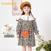 【2件6折价:128.9】巴拉巴拉儿童裙子秋装2021新款童装女童连衣裙宝宝小童精致碎花甜