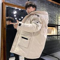 冬季羽绒服男中长款2018新款帅气韩版潮流大码工装加厚白鸭绒男外套潮