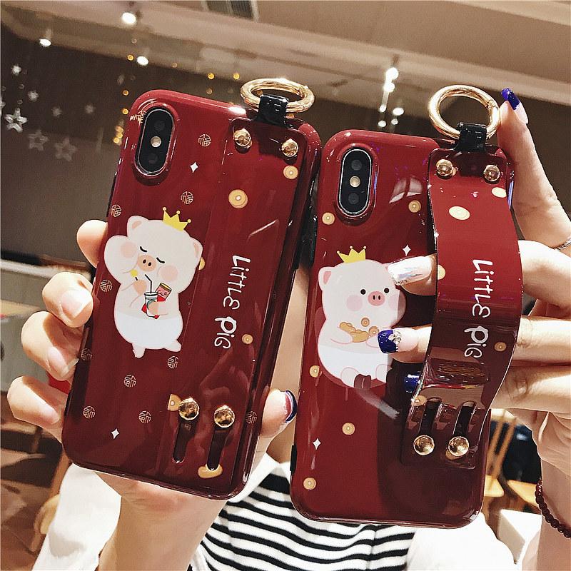新年酒红色猪猪苹果X手机壳腕带iphone xs max硅胶软壳8plus全包边6s防摔保护套7plus创意个性女款xr