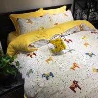 A纯棉B珊瑚绒四件套网红全棉加绒冬季法莱法兰绒被套床单1.8m床上
