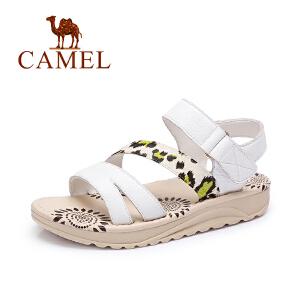 Camel/骆驼女鞋 夏季新款 舒适休闲拼色马毛魔术贴女凉鞋